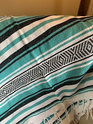Mexican Blanket Blue, Black And White - Made In Mexico Purchased In Texas • 34.99£