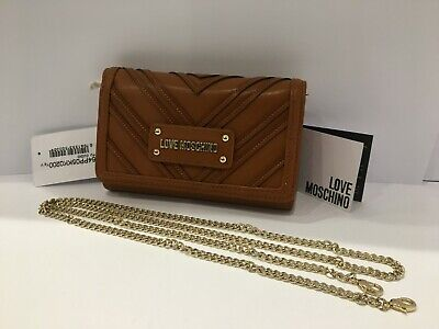 New Women's Love Moschino Brown Leather Shoulder Bag /clutch Bag • 44.99£