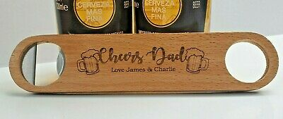 £5.89 • Buy ⭐Personalised Fathers Day Gifts Engraved Name Wooden Bottle Opener Grandad Dad ⭐