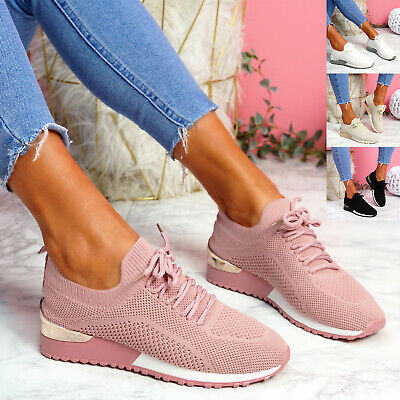 $ CDN26.28 • Buy Womens Ladies Knit Trainers Laces Sport Sneakers Slip On Women Shoes Size Uk