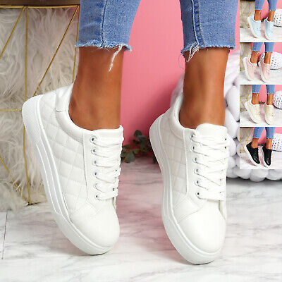$ CDN25.56 • Buy Womens Ladies Platform Trainers Lace Up Casual Party Plimsolls Women Shoes Size