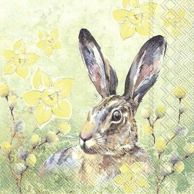 £1.29 • Buy Hare In Spring 4 Napkins 33x33cm Easter Decoupage Paper Table BUY 4 GET 1 FREE