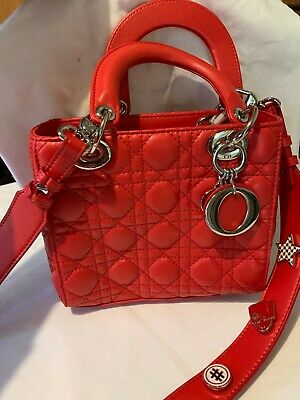 Christian Dior Lady Trotter Handbag Red Leather Women's, Genuine, Authentic • 695£
