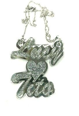 £23.37 • Buy Couple Name Necklace Silver Double Name Plate Personalize Script LaserCut Custom