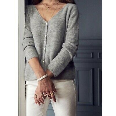 $ CDN222.02 • Buy Sezane Barry Jumper Sweater Cardigan In Grey Mohair V Neck Buttons Size L Large