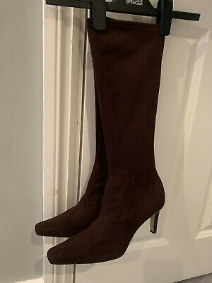 £12 • Buy Marks And Spencer Brown Stretch Long High Heel Pull On Boots Uk 5