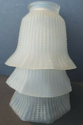 3 Vintage Etched Frosted Glass TULIP LAMP SHADE Hob Nail Pattern No Gallerys • 10£
