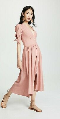 AU51.65 • Buy Free People Love Of My Life Medium Dress Dusty Rose Pink Button Front Tie Sleeve
