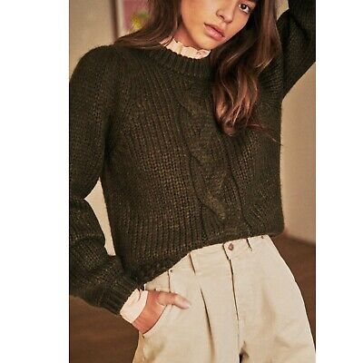 $ CDN183.96 • Buy Sezane Serena Jumper Sweater Green Size XS Cable Knit Crew Neck Kid Mohair