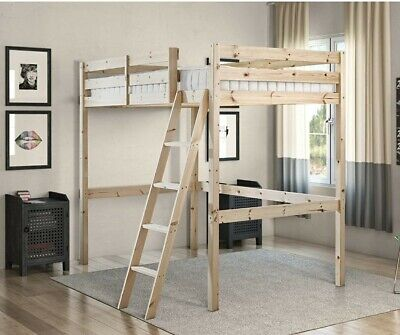 Ikea Single Wooden Bunk Bed With Ladder • 46£