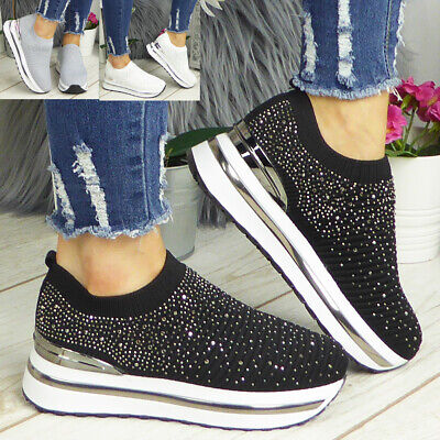 £18.95 • Buy Ladies Sock Bling Trainers Womens Sneakers Ankle Comfy Wedge Pumps Pull On Shoes