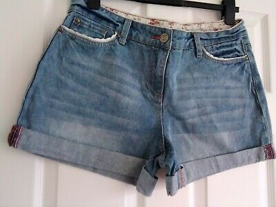 Ladies Size 14 Cotton Denim  Shorts Lace Trim Great Condition By Falmer Heritage • 1.99£