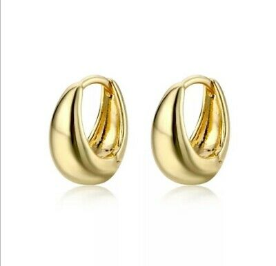 £4.49 • Buy Gold Thick Chunky Vintage Small Hoop Earrings