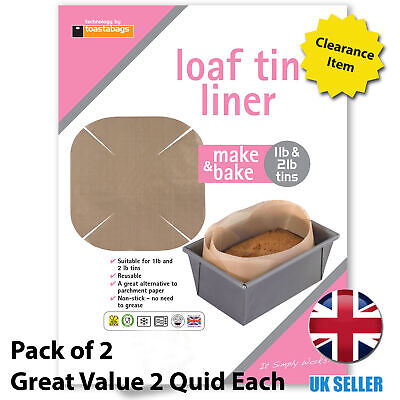 Pack Of Two Make And Bake Reusable Loaf Tin Liner 1lb And 2lb Tins • 3.99£