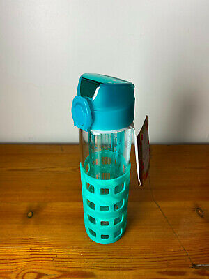 Apana Fruit Infusion Glass Water Bottle Teal Green NEW • 4.99£