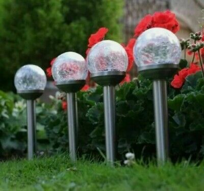 Solar Powered Crackle Globe Stake Lights 4 Pack Colour Changing Spring Garden😍 • 13.99£