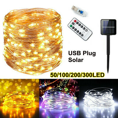 £6.99 • Buy LED Solar/USB Micro Rice Wire Copper Fairy String Lights Garden Party In/Outdoor