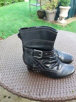 Ladies PAVERS Black Ankle Boot Size 38H. Wide Fit • 4.99£