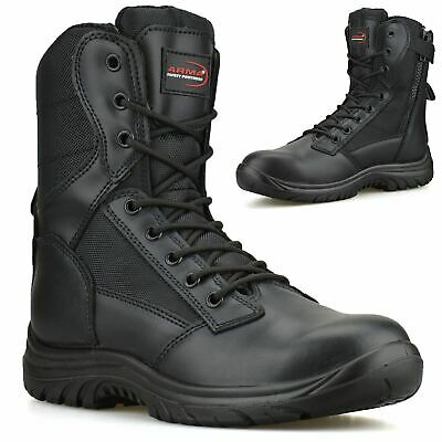 £36.98 • Buy Mens Leather Zip Up Combat Safety Steel Toe Cap Army Work Ankle Biker Boots Size