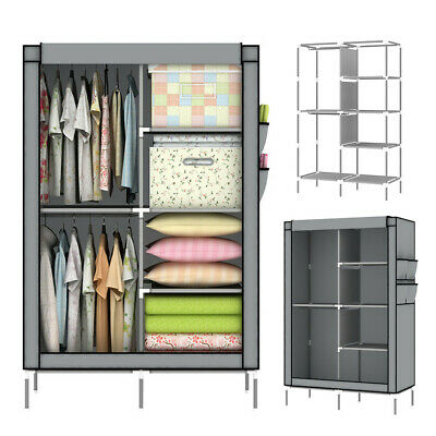 £18.99 • Buy Portable Canvas Wardrobe With Hanging Rail Shelving Clothes Storage Cupboard UK