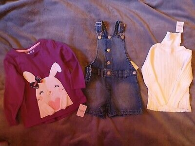 Dungarees Shorts & 2x Long Sleeved Tops Bundle Nutmeg Kids 3-4 Years New With Ta • 2.10£