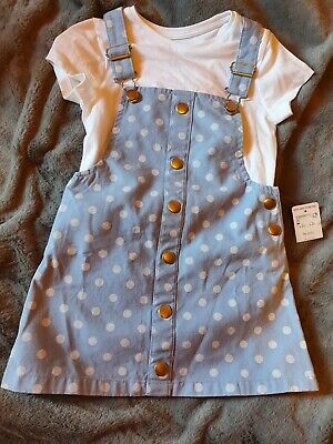 Dungarees Dress / Pinafore Dress With White Tshirt Set 3-4 Years F&f New With... • 4.61£