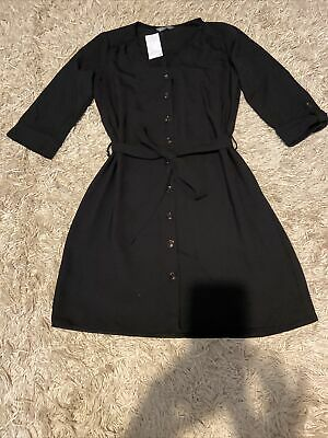 Brand New With Tags Black Button Up Dress With Tie Up Belt  • 4£