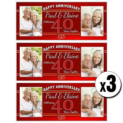 3 Personalised 40th Ruby Wedding Anniversary Photo Banners N42 • 14.99£