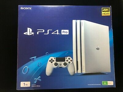 AU255 • Buy Sony PlayStation 4 Pro 1TB White Console With 2x Controllers Excellent Condition