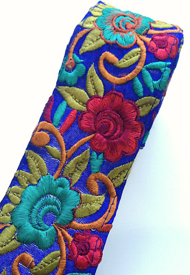 £4.25 • Buy 1 Metre 6/7cm Multicoloured Big Floral Flower Embroidery Trimming Craft Ribbon