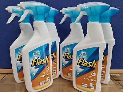 6 X Flash Kitchen Spray Degrease Effect Removes Grease Grime Citrus Scent 450ml  • 12.90£