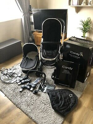 Icandy Peach 3 Black Magic Chrome Pram Pushchair Carrycot Travel System • 290£