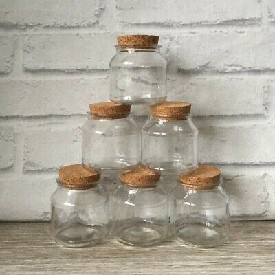 6pcs Tromso 120ml Round Glass Jars Liquid Storage Wide Mouth Cork Stopper Lid • 11.95£