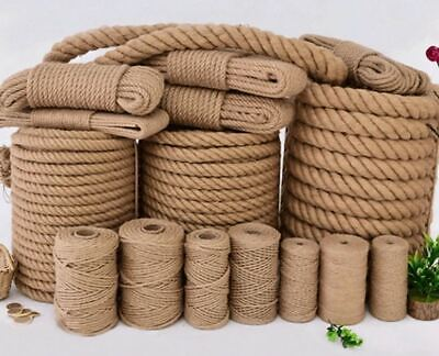 100% Natural Jute Hessian Rope Cord Braided Twisted Boating Sash Garden Decking • 1.40£