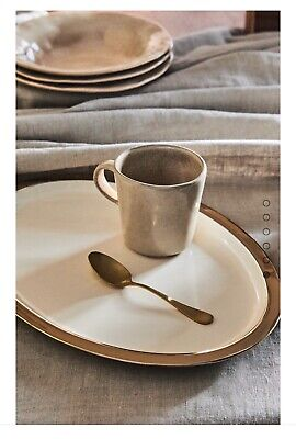 Zara Home Gold Rim Lacquered Tray Oval Shape 26x34x1.5cm • 25£