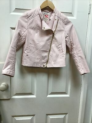 H&m Girls 9-10 Years Leather Look Jacket Cross Zip Baby Pink Pretty Jacket • 4.99£