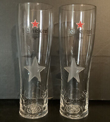 2 X Heineken Lager Pint Glasses (frosted Star) - Ce Stamped / Nucleated • 8.99£