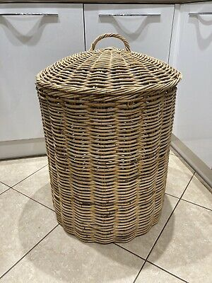 Vintage Large Wicker Willow Cane Laundry Linen Storage Basket Bin Hamper • 79.99£