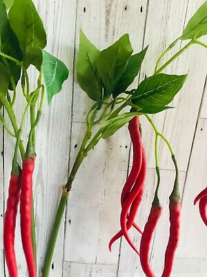 Artificial Red Chilli Stem Long Stem Condition New 7 Faux Chilli Peppers • 13.50£