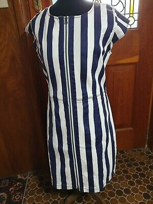AU0.99 • Buy Charlie Brown Cotton Spandex Navy White Striped Drill Zip Up Shift Dress Size 16