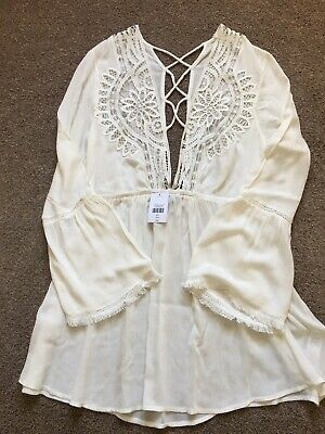Womens White Lace Dress By Topshop. BNWT RRP £32 Size Small. Perfect For Summer. • 13£