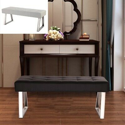 Dining Bench Long Seat Chair White Black Faux Leather Lounge Stool Base Steel • 76.99£