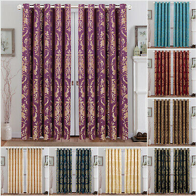 Pair Of Jacquard Ring Top Fully Lined Eyelet Curtains Or Cushion Covers &Tieback • 22.99£