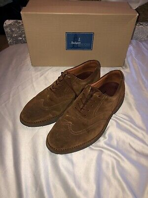 Rockport Mens Caramel Brown Suede Loafers Size 7.5 Hardly Worn With Original Box • 0.99£
