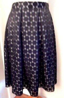 VINTAGE BHS FLARED MIDI 50s STYLE SKIRT SIZE 18 BLACK POLKA DOT CHIFFON LINED  • 5£