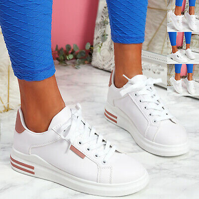 $ CDN22.15 • Buy Womens Ladies Platform Trainers Two Tone Sneakers Plimsoll Women Shoes Size