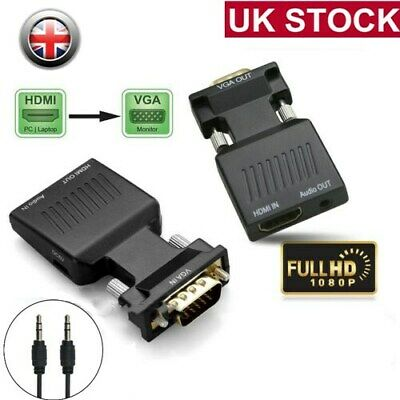HDMI To VGA Male Female Video Adapter Cable Converter Lead With Audio HD 1080P • 0.01£