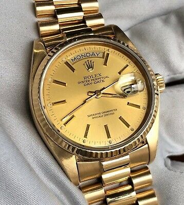 $ CDN15566.84 • Buy Rolex President Day Date Yellow Gold 36 Quickset 18038 - Rolex Box & Wty Papers