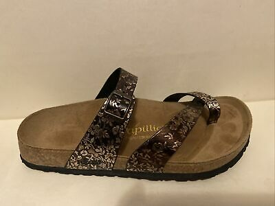 Papillio By Birkenstock Mayari Brown Bronze Leather Thong Slide Sandal Size 39 8 • 36.17£