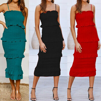 £10.79 • Buy Women Strappy Midi Dress Ladies Pleated Summer Holiday Party Pencil Skirt Dress